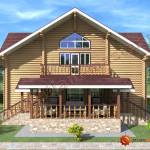 Проект бревенчатого дома 160 кв.м (вид спереди)
