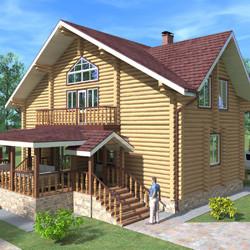 Проект бревенчатого дома 160 кв.м. - миниатюра