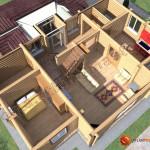 Проект бревенчатого дома 160 кв.м. (первый этаж)