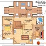 Проект бревенчатого дома 160 кв.м. - план первого этажа