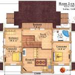 Проект бревенчатого дома 160 кв.м. - план второго этажа