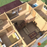 Проект бревенчатого дома 160 кв.м. (второй этаж)