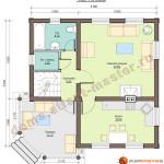 Проект дома из бревна D01 - 100 кв.м. (план первого этажа)