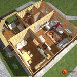 Проект дома из бревна D01 - 100 кв.м. (первый этаж)