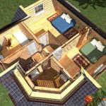 Проект дома из бревна D01 - 100 кв.м. (второй этаж)