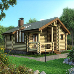 Проект гостевого дома из бревна - 50 кв.м. (миниатюра)